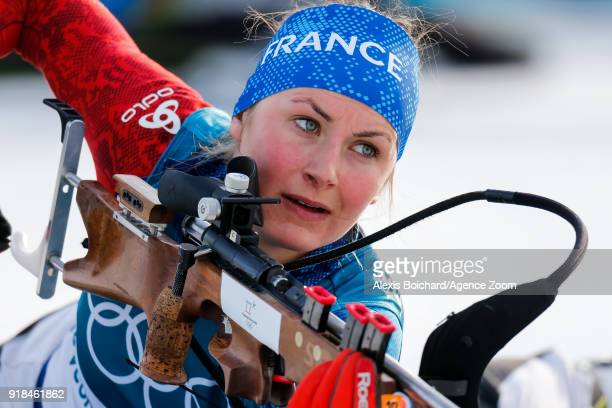 Justine Braisaz of France competes during the Biathlon Women's 15km Individual at Alpensia Biathlon Centre on February 15 2018 in Pyeongchanggun...