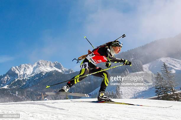 Justine Braisaz of France competes during the IBU Biathlon World Cup Men's and Women's Sprint on December 12 2014 in Hochfilzen Austria
