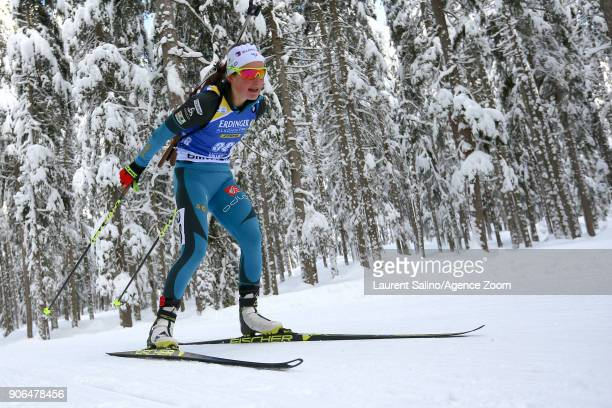 Justine Braisaz of France competes during the IBU Biathlon World Cup Women's Sprint on January 18 2018 in AntholzAnterselva Italy