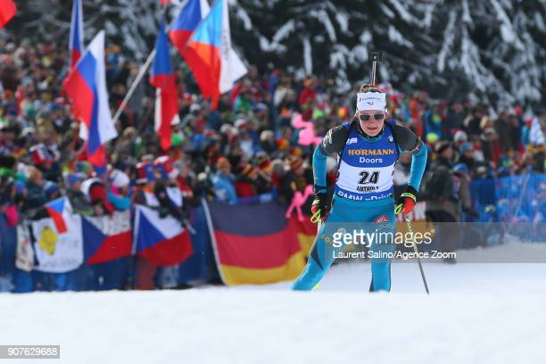 Justine Braisaz of France competes during the IBU Biathlon World Cup Men's and Women's Pursuit on January 20 2018 in AntholzAnterselva Italy