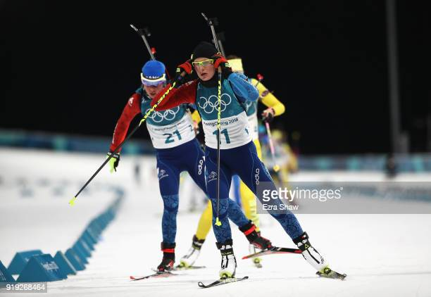 Justine Braisaz of France competes during the Women's 125km Mass Start Biathlon on day eight of the PyeongChang 2018 Winter Olympic Games at Alpensia...