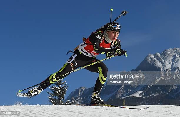 Justine Braisaz of France competes during the women's 75 km sprint event during the IBU Biathlon World Cup on December 12 2014 in Hochfilzen Austria
