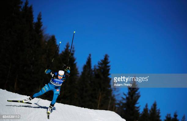Justine Braisaz of France competes in the women's 75km sprint competition of the IBU World Championships Biathlon 2017 at the Biathlon Stadium...