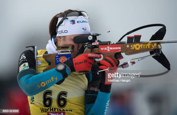 Justine Braisaz of France in action at the shooting range prior to the 75 km Women's Sprint during the BMW IBU World Cup Biathlon on December 8 2017...