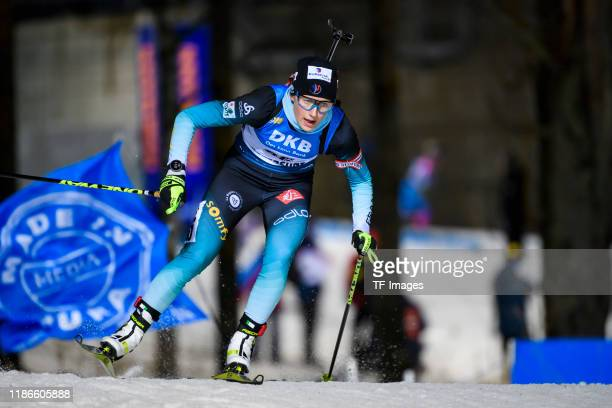 Justine Braisaz of France in action competes during the Women 15 km Individual Competition at the BMW IBU World Cup Biathlon Oestersund at on...