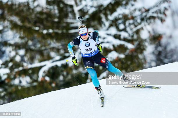 Justine Braisaz of France in action during the IBU Biathlon World Cup Women's Sprint on January 17, 2019 in Ruhpolding, Germany.