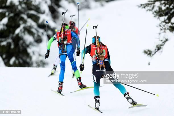 Justine Braisaz of France in action during the IBU Biathlon World Cup Women's Relay on December 14, 2019 in Hochfilzen, Austria.