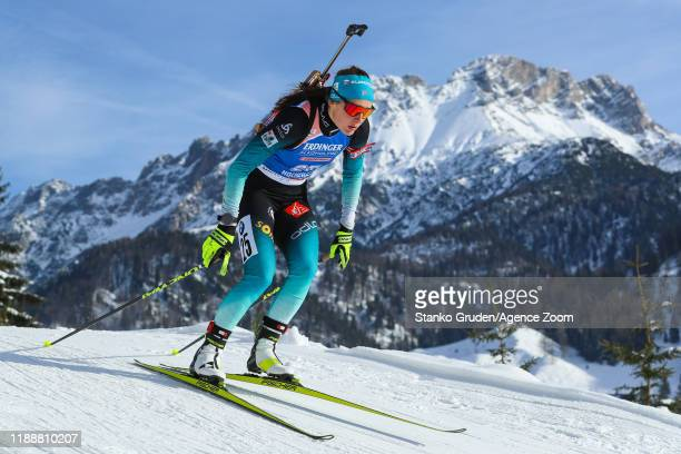 Justine Braisaz of France in action during the IBU Biathlon World Cup Women's Pursuit on December 15, 2019 in Hochfilzen, Austria.