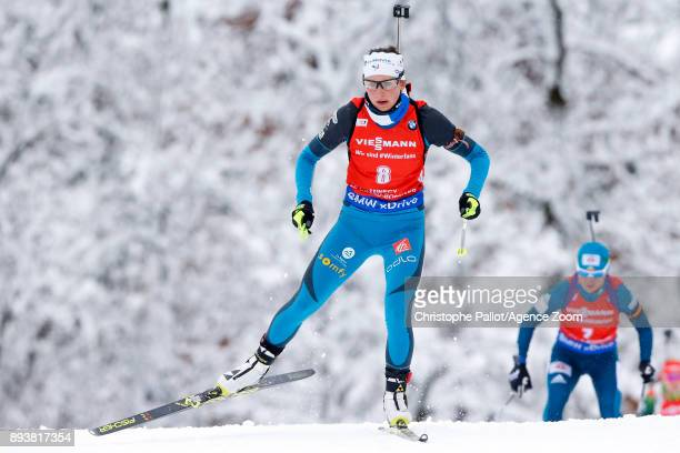 Justine Braisaz of France in action during the IBU Biathlon World Cup Men's and Women's Pursuit on December 16, 2017 in Le Grand Bornand, France.