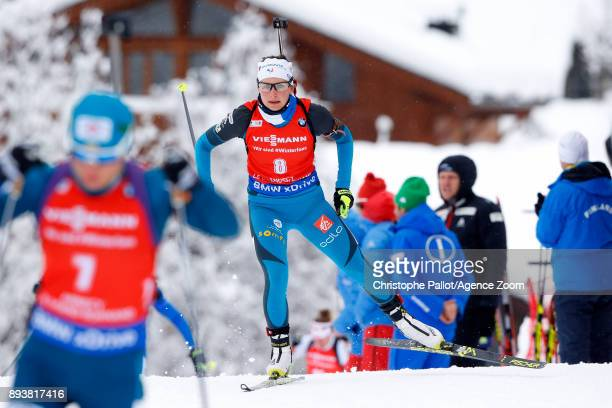 Justine Braisaz of France in action during the IBU Biathlon World Cup Men's and Women's Pursuit on December 16 2017 in Le Grand Bornand France