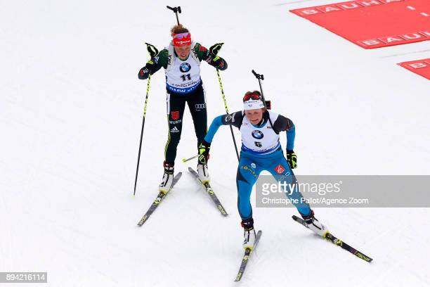 Justine Braisaz of France in action during the IBU Biathlon World Cup Men's and Women's Mass Start on December 17 2017 in Le Grand Bornand France