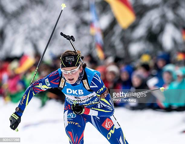 Justine Braisaz of France in action during the Women 4 x 5 km relay Biathlon race at the IBU Biathlon World Cup Ruhpolding on January 17 2016 in...