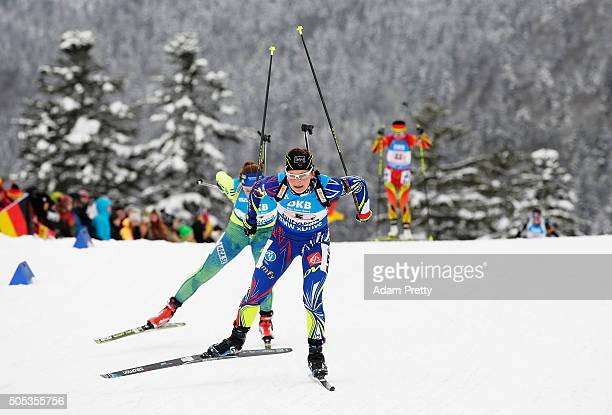 Justine Braisaz of France in action during the Women's 4x 6km relay on Day 5 of the IBU Biathlon WOrld Cup Ruhpolding on January 17 2016 in...