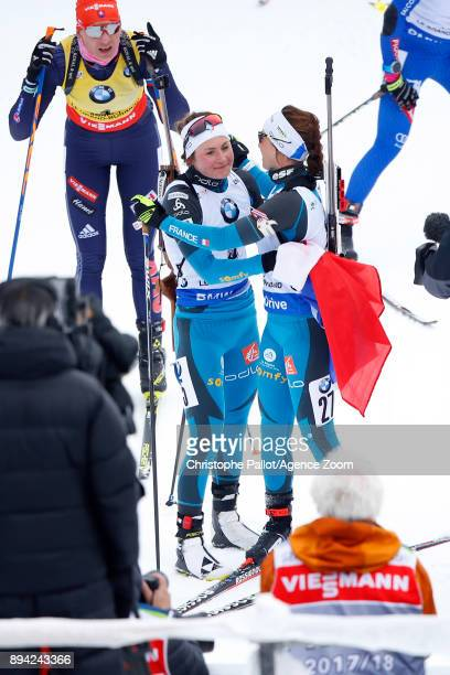 Justine Braisaz of France takes 1st place Anais Chevalier of France celebrates during the IBU Biathlon World Cup Men's and Women's Mass Start on...