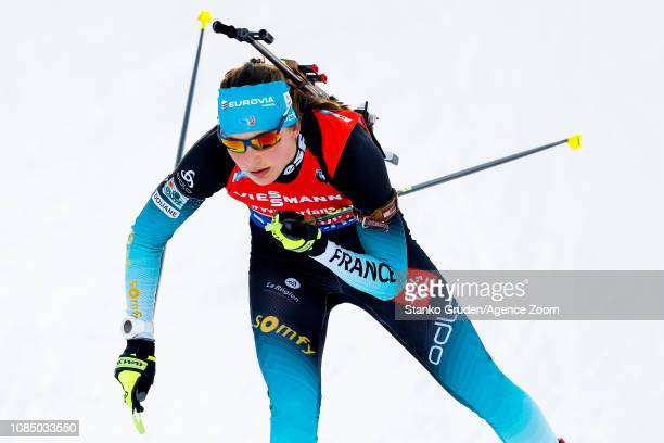 Justine Braisaz of France takes 1st place during the IBU Biathlon World Cup Women's Relay on January 19 2019 in Ruhpolding Germany