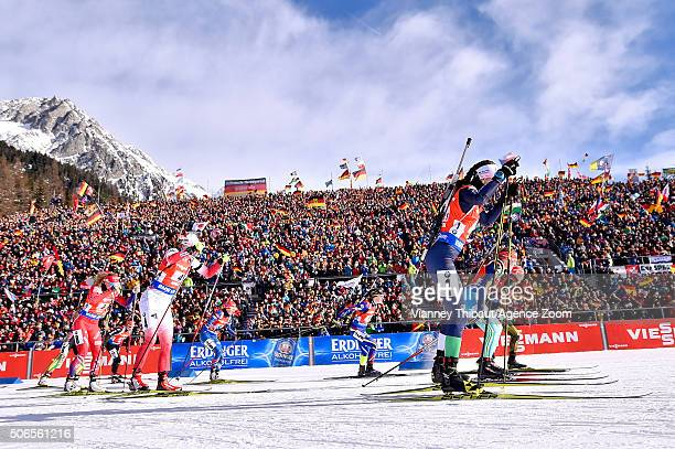 Justine Braisaz of France takes 1st place during the IBU Biathlon World Cup Men's and Women's Relay on January 24 2016 in AntholzAnterselva Italy