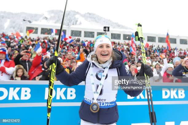 Justine Braisaz of France takes 1st place during the IBU Biathlon World Cup Men's and Women's Mass Start on December 17, 2017 in Le Grand Bornand,...