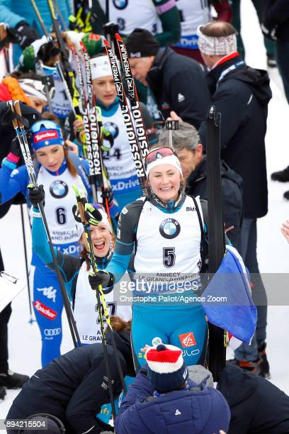 Justine Braisaz of France takes 1st place during the IBU Biathlon World Cup Men's and Women's Mass Start on December 17 2017 in Le Grand Bornand...