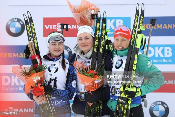 Justine Braisaz of France takes 1st place, Iryna Kryuko of Belarus takes 2nd place, Laura Dahlmeier of Germany takes 3rd place during the IBU...