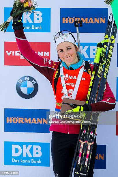 Justine Braisaz of France takes 2nd place during the IBU Biathlon World Cup Men's and Women's Sprint on December 09 2016 in Pokljuka Slovenia