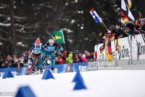 Justine Braisaz of France takes 2nd place Maren Hammerschmidt of Germany takes 1st place during the IBU Biathlon World Cup Women's Relay on January...