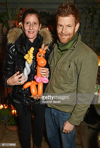 Justine DobbsHigginson and Tom Aikens attend The Ivy Chelsea Garden's Guy Fawkes party on November 5 2016 in London England