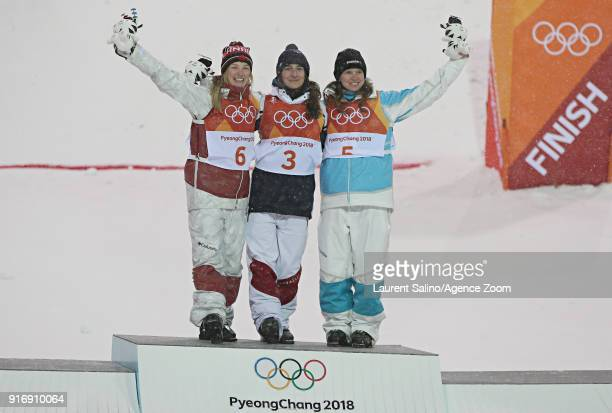 Justine Dufourlapointe of Canada wins the silver medal Perrine Laffont of France wins the gold medal Yulia Galysheva of Kazakhstan wins the bronze...