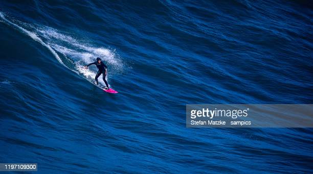 Justine Dupont of France competes on December 23, 2019 in Nazare, Portugal.