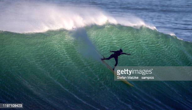 Justine Dupont of France competes on December 28, 2019 in Nazare, Portugal.