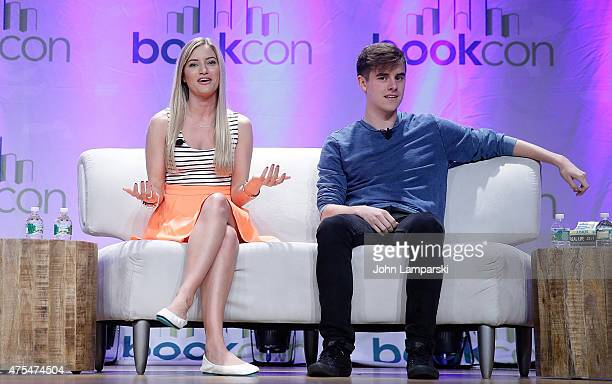 Justine Ezarik aka ijustine and Connor Franta attend BookCon 2015 at Javits Center on May 31 2015 in New York City