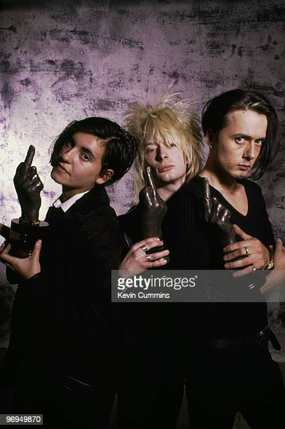 Justine Frischmann of Elastica Thom Yorke of Radiohead and Brett Anderson of Suede holding awards at the 1993 NME Brat Awards