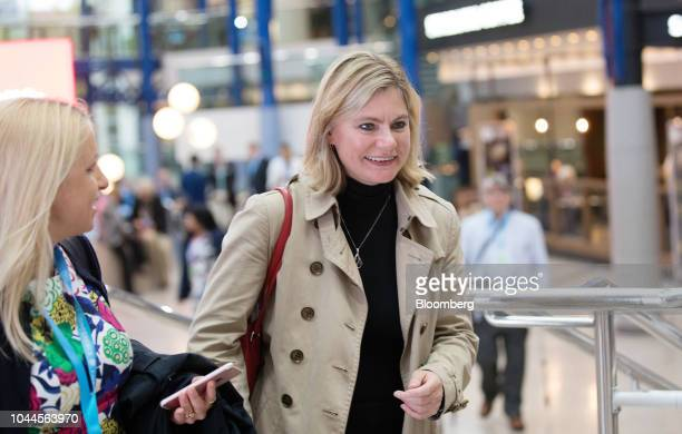 Justine Greening Conservative Party member of parliament passes through the Conservative Party annual conference in Birmingham UK on Tuesday Oct 2...