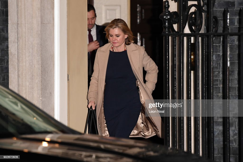 Justine Greening leaves 10 Downing Street after resigning from the position of Secretary of State for Education as Prime Minister Theresa May reshuffles her cabinet on January 8, 2018 in London, England. Today's Cabinet reshuffle is Theresa May's third since becoming Prime Minister in July 2016 and was triggered after she sacked first secretary of state and close friend Damian Green before Christmas.