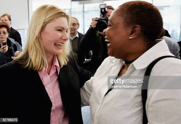 Justine Greening , who captured Putney for the Conservative Party, is congratulated by Conservative party supporters, May 6, 2005 at the University...