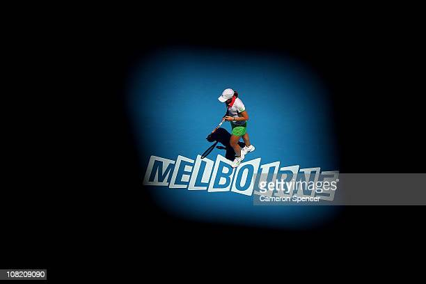 Justine Henin of Belgium celebrates a point in her third round match against Svetlana Kuznetsova of Russia during day five of the 2011 Australian...