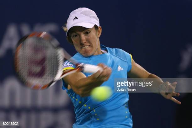 Justine Henin of Belgium in action against Francesca Schiavone of Italy during day four of the WTA Barclays Dubai Tennis Championships at the Dubai...