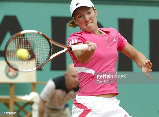 Justine Henin of Belgium, in action, defeating Serena Williams of the USA, 6-4, 6-3 in the quarter final of the French Open, at Roland Garros, Paris,...