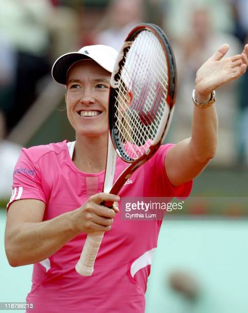 Justine Henin of Belgium in action defeating Serena Williams of the USA 64 63 in the quarter final of the French Open at Roland Garros Paris France...