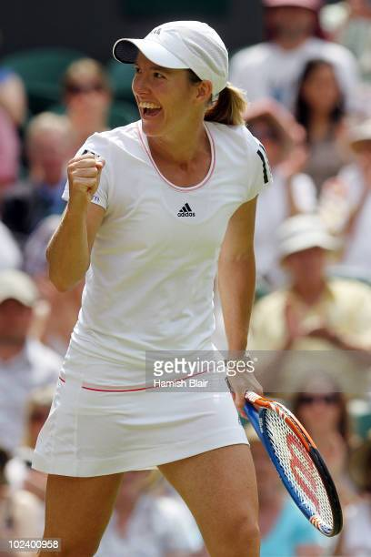 Justine Henin of Belgium in action during her match against Nadia Petrova of Russia on Day Five of the Wimbledon Lawn Tennis Championships at the All...