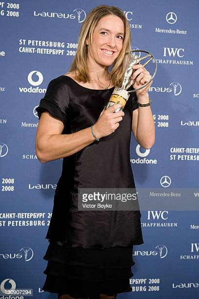 Justine Henin with the trophy after winning the Laureus World Sportwoman of the Year at the Laureus World Sports Awards at the Mariinsky Concert Hall...
