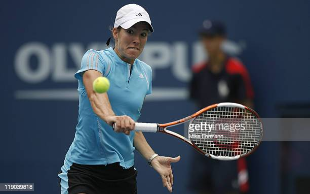 Justine HeninHaedenne during a first round match against Maria Elena Camerin at the 2006 US Open at the USTA National Tennis Center in Flushing...