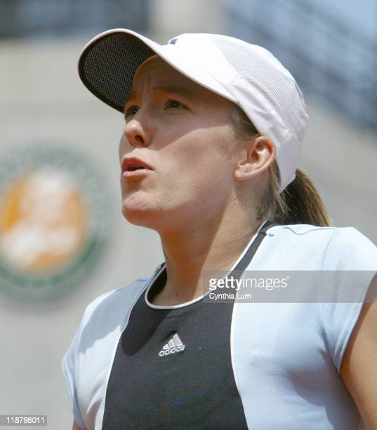 Justine Henin-Hardenne during her Quarterfinal match against Maria Sharapova at the 2005 French Open at Roland Garros Stadium in Paris, France on May...
