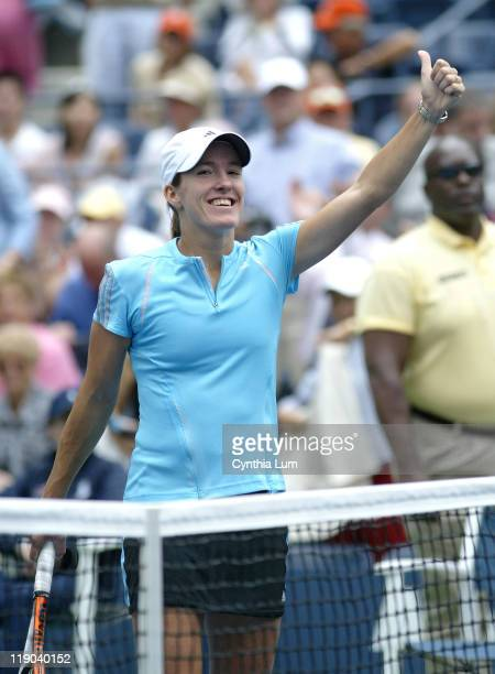 Justine HeninHardenne during her quarterfinals match against Lindsay Davenport at the 2006 US Open at the USTA Billie Jean King National Tennis...