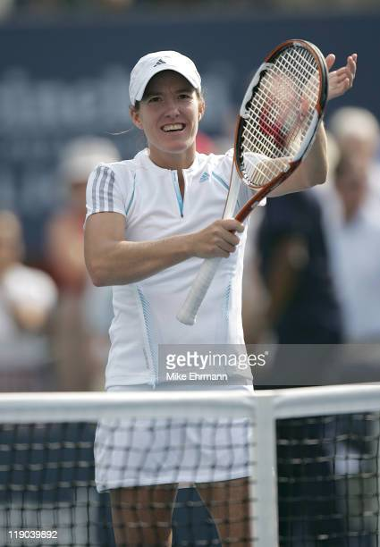 Justine HeninHardenne during her semifinal match against Jelena Jankovic at the 2006 US Open at the USTA Billie Jean King National Tennis Center in...