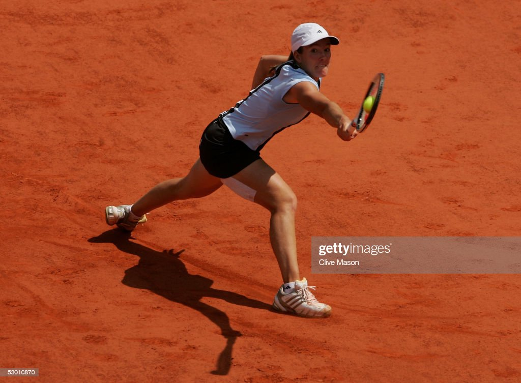 Justine Henin-Hardenne of Belgium in action during her semi-final match against Nadia Petrova of Russia during the eleventh day of the French Open at Roland Garros on June 2, 2005 in Paris, France.