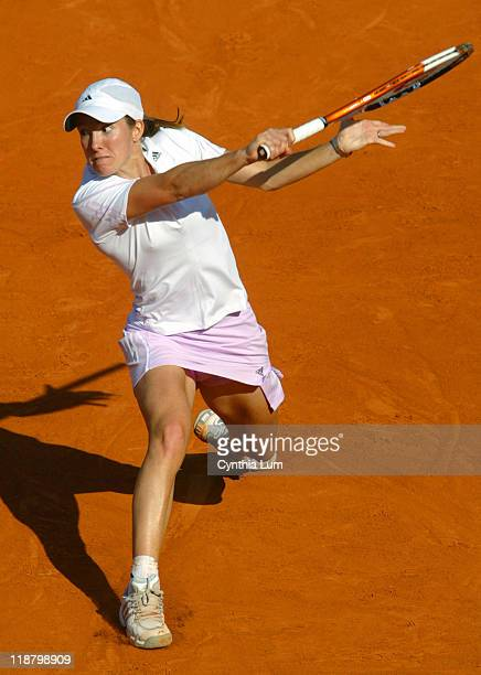 Justine HeninHardenne of Belgium in action during her win over Kim Clijsters of Belgium 63 62 in the semifinals of the 2006 French Open at Roland...