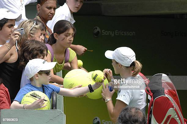 Justine HeninHardenne signs autographs after her 62 63 victory over Anna Chakvetadze in a semi final at the 2007 Sony Ericsson Open in Key Biscayne...