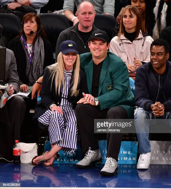 Justine Karain Reed and Patrick Reed attend New York Knicks Vs Cleveland Cavaliers at Madison Square Garden on April 9 2018 in New York City