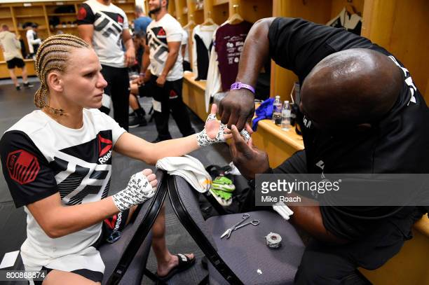 Justine Kish has her hands wrapped prior to her bout against Felice Herrig during the UFC Fight Night event at the Chesapeake Energy Arena on June 25...