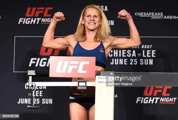 Justine Kish of Russia poses on the scale during the UFC Fight Night weighin on June 24 2017 in Oklahoma City Oklahoma